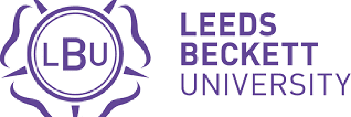 Purple and white logo for Leeds Beckett University