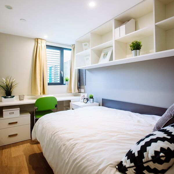 A bedroom in a University of Portsmouth halls of residence