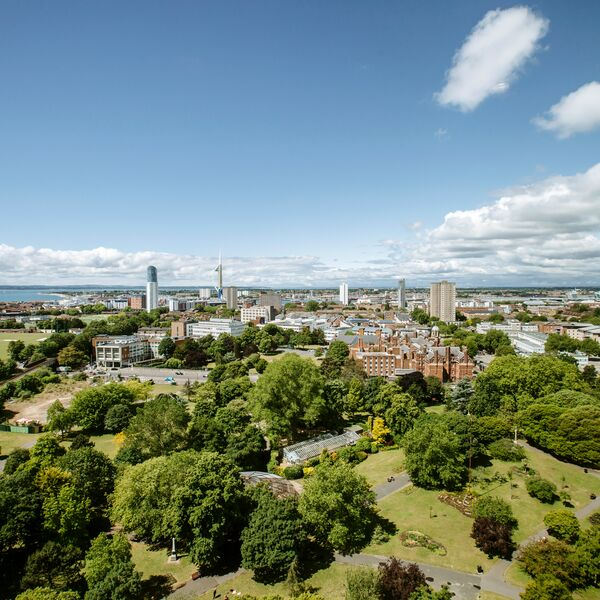 Aerial shot of Portsmouth and the University buildings