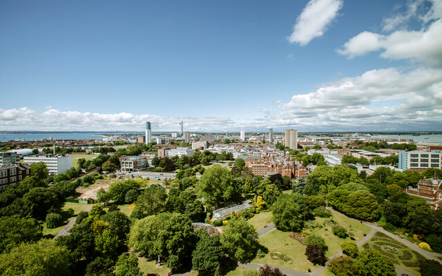 An aerial shot of Portsmouth and the University buildings
