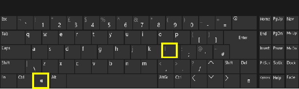 A keyboard with the Windows key and L highlighted