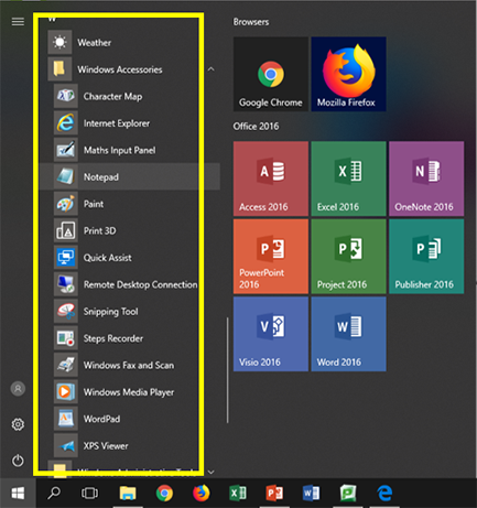 The Programs and Applications list highlighted in Start menu