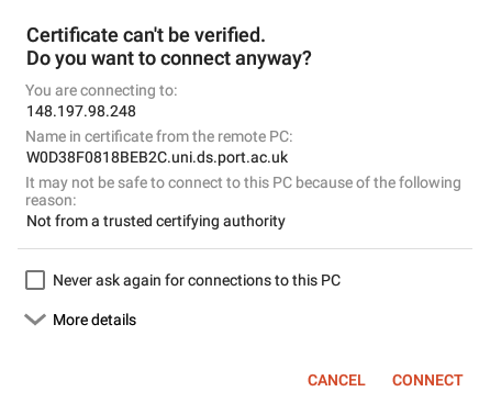 Accept the certificate