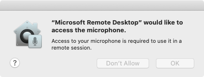 Microphone permissions on macOS