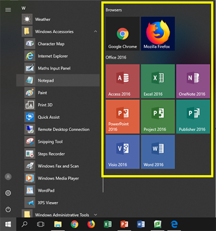 Tiles section highlighted in Start menu