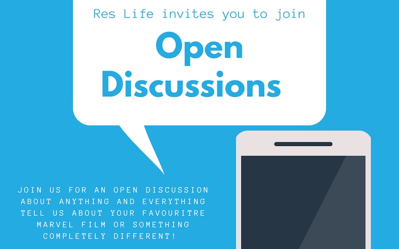 Speech bubble from phone reads: Res Life invites you to join Open Discussions